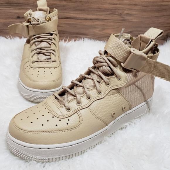 cheap for discount c05d0 69eab New Nike Air Force 1 Mid Tan Sneakers NWT